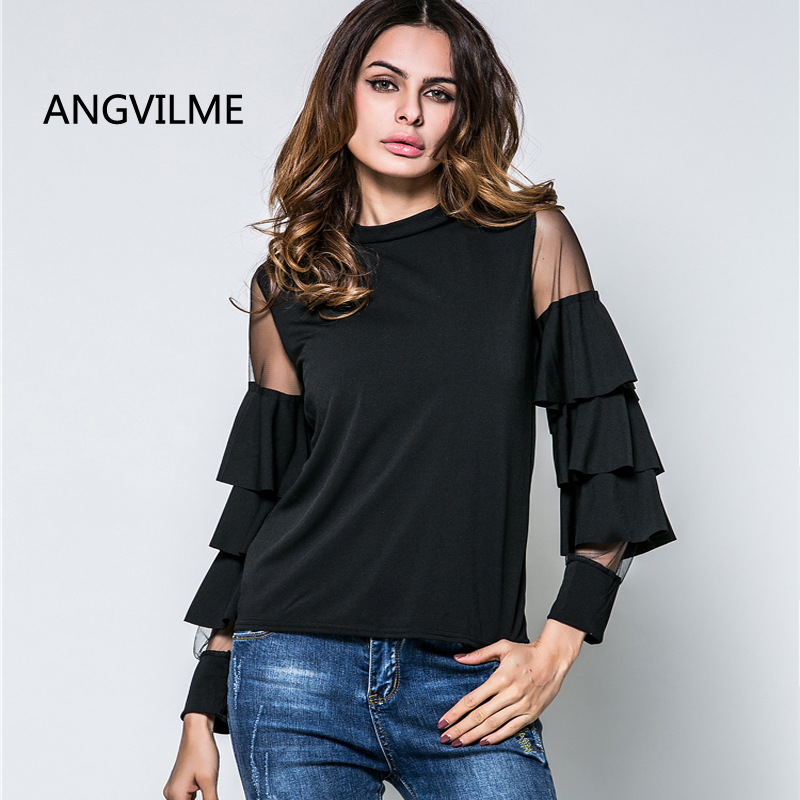 angvilme 2017 designer shirts for women top brand latest