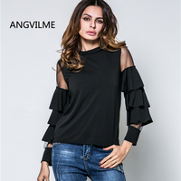 ANGVILME 2017 Designer Shirts For Women Top Brand Latest Top Designs Womens Shirt Ruffle Flare Sleeve
