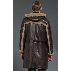 Image 4 - À capuche épaissir longue peau de mouton manteau hommes hiver chaud mouton en cuir veste en cuir véritable marron à capuche véritable fourrure vêtements