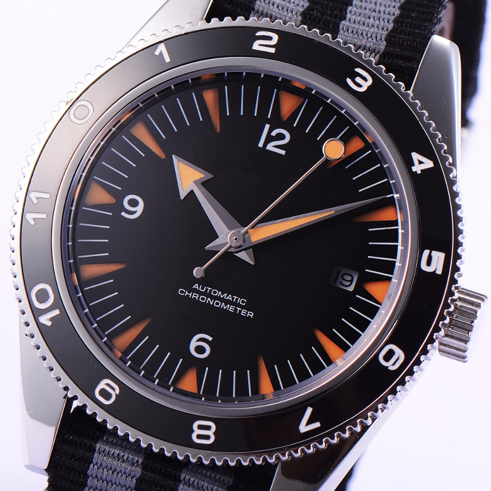 41mm debert black dial ceramic bezel sapphire glass miyota Automatic mens Watch цена и фото