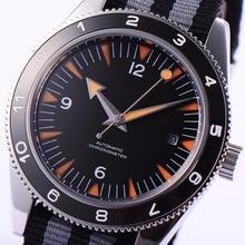 41mm debert black dial ceramic bezel sapphire glass miyota Automatic mens font b Watch b font