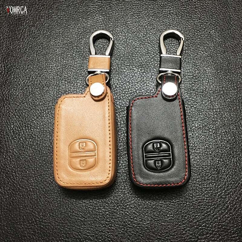 Car Genuine Leather Remote Control Keychain Car Key Cover For Toyota Camry/ Highlander / VIOS /Yaris 2 buttons car key case