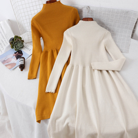2018 new fashion women's sweater dress high neck pullover slim bottoming autumn and winter knit dress