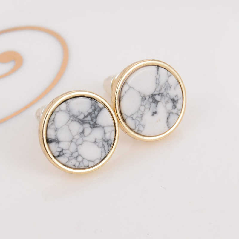 2018 New Fashion Trendy Simple Gold Square Triangle Round Geometric Marbled White Faux Stone Stud Earrings For Women Best Gift