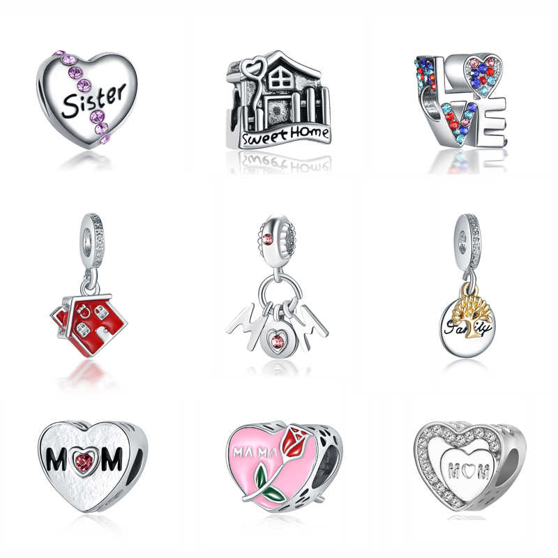 7fcb65c1c Original 925 Charm Beads For Jewelry Making Family Is Forever Charms Love  Mom Fit Pandora Bracelets