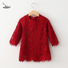High Quality Kids Autumn Dress Girls Casual Wear O-Neck 3/4 Sleeve Lace Crochet A-Line Mini Dress