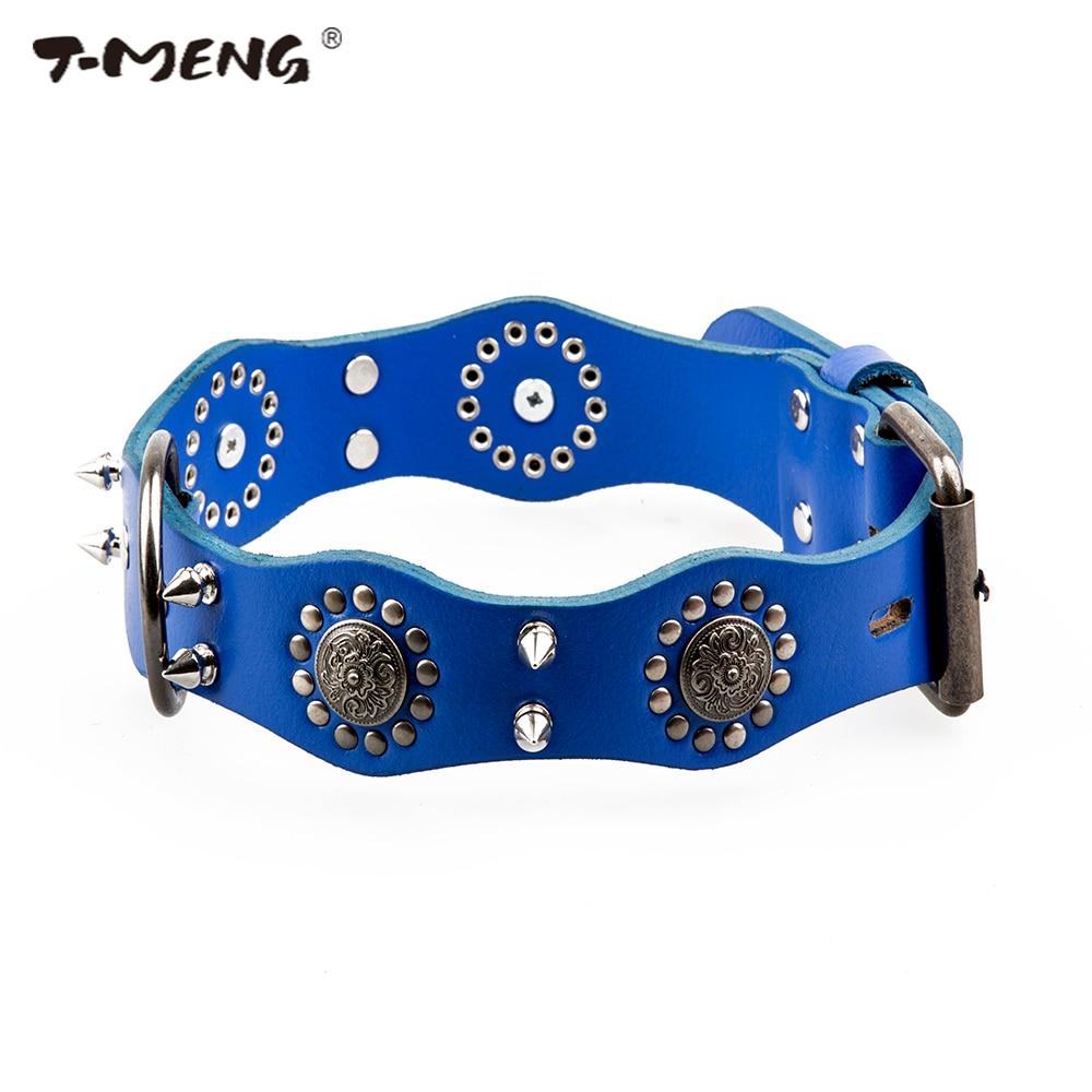 T-MENG Qeni Pet Dog Lëkurë origjinale Retro Style Sharp Spiked - Produkte për kafshet shtëpiake - Foto 2