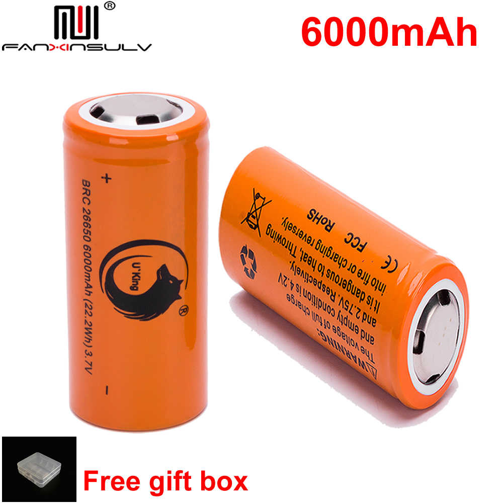 2pcs rechargeable battery 26650 3.7v/4.2v 6000mah li ion batteria for led flashlight 26650 lithium battery Headlamps TRACKING