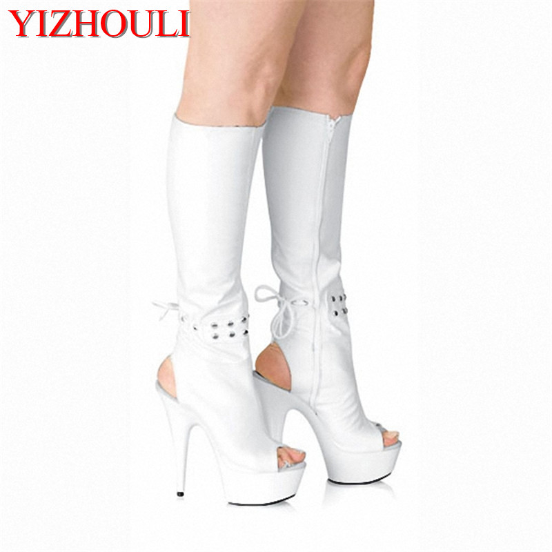 15cm high heels knee boots platform women Sexy open toe shoes The back zipper spring and autumn cool boots brand new open toe ankle boots ladies shoes sexy slingbacks high heels platform shoes women boots spring autumn free shipping page 10