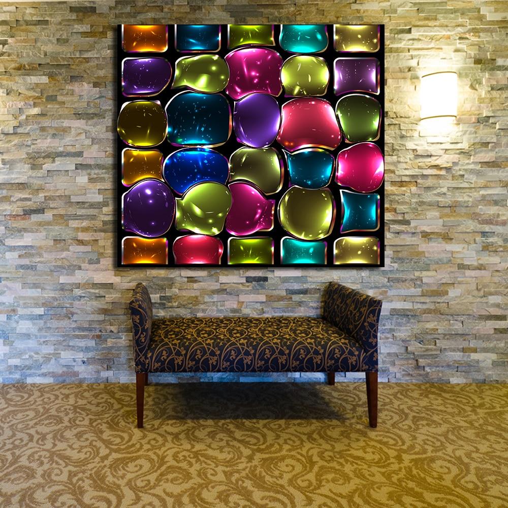 JQHYART Farben Bunte Glasmalerei Gemälde Auf Leinwand Moderne Wand ...