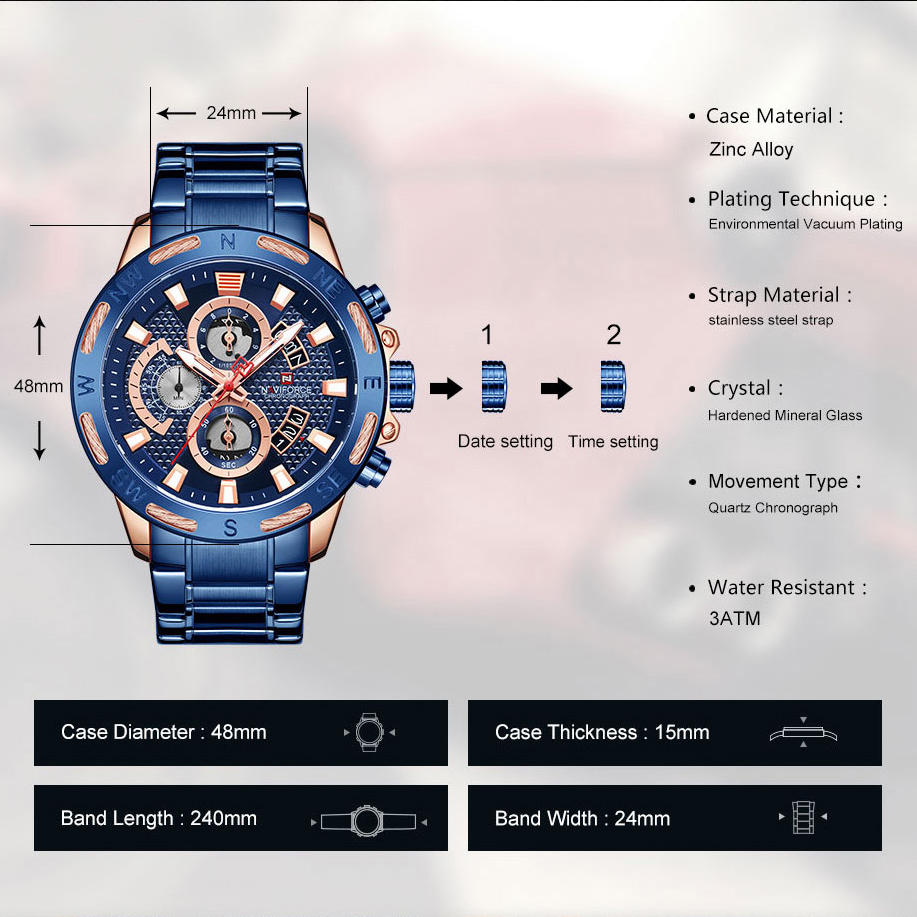 Image 5 - NAVIFORCE Men Watches Waterproof Stainless Steel Quartz Watch Male Chronograph Military Clock Wrist watch Relogio Masculino-in Quartz Watches from Watches