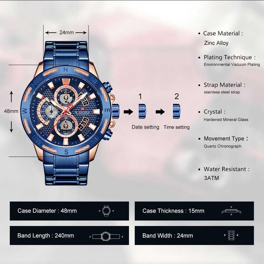 NAVIFORCE hommes montres étanche en acier inoxydable montre à Quartz homme chronographe horloge militaire montre-bracelet Relogio Masculino