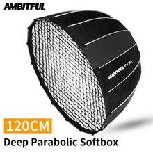 AMBITFUL P120 Di Động 120CM 16 Thanh Kim Loại Sâu Parabolic Softbox + Tổ Ong Lưới Gắn Kết Bowens Phòng Thu đèn FLASH SOFTBOX