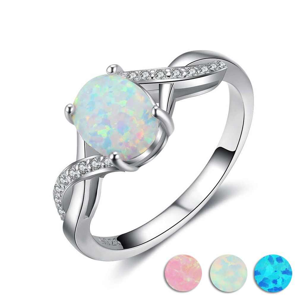 925 Sterling Silver Created Oval Blue Pink White Opal Ring Women Cubic Zirconia Twisted Rings Wedding Gift Jewelry(Lam Hub Fong)