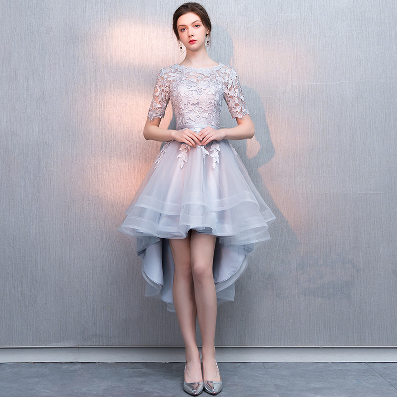 Holievery Organza High Low   Cocktail     Dresses   with Lace Appliques 2019 Scoop Neck Prom Gowns Half Sleeves Party   Dress   Elegant