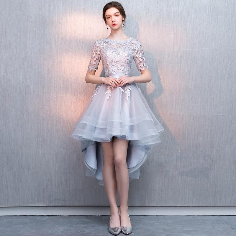 Holievery Organza haut bas robes de Cocktail avec Appliques de dentelle 2019 encolure dégagée robes de bal demi manches robe de soirée élégante