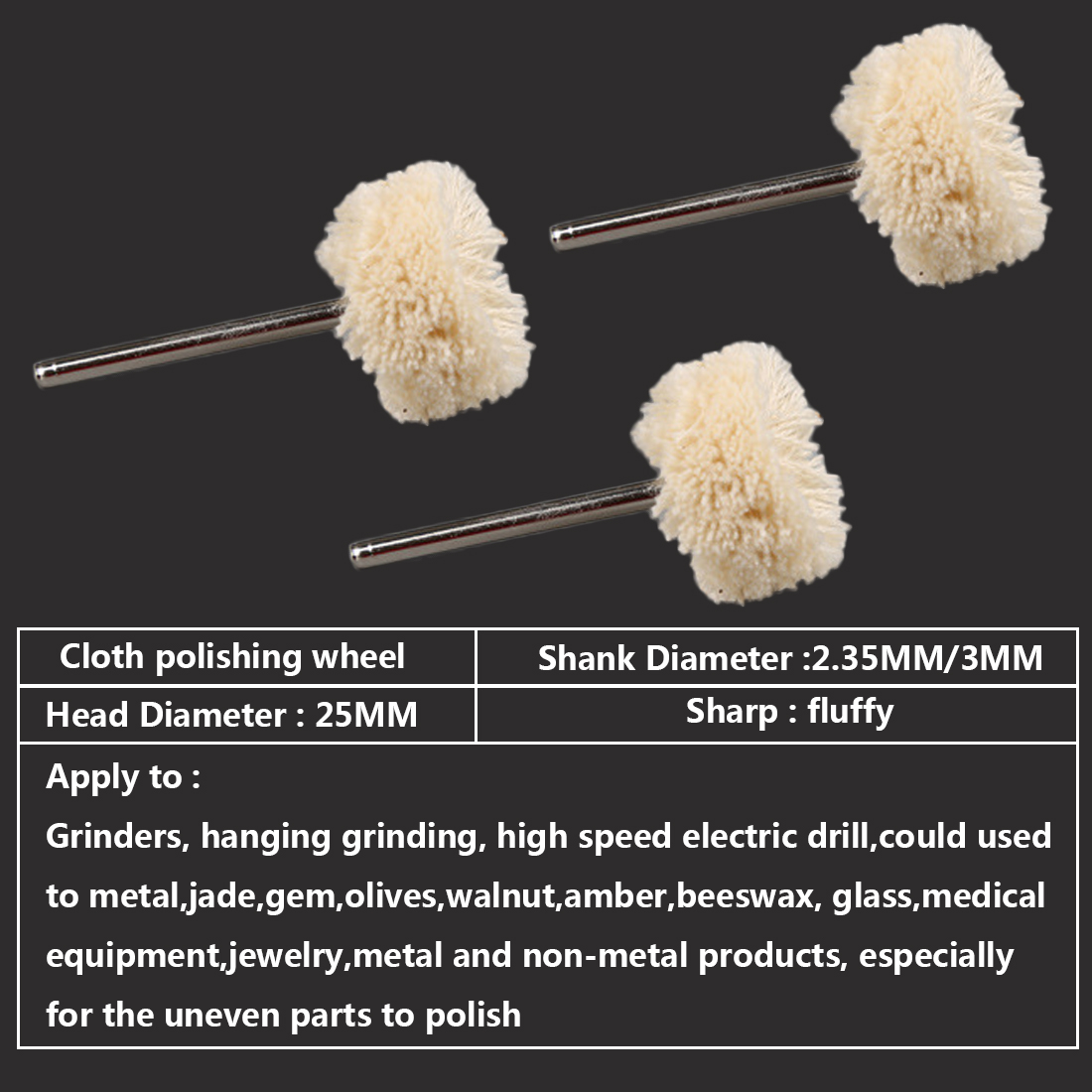 10pcs 2.35MM/3.0MM Diameter Woolen Polishing Wheel Buffing Pad Brush Set Dremel Rotary Power Tools Accessories For Jewelry Metal