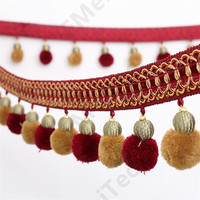 13M New Arrival Curtain Lace Accessories Tassel Fringe Trim African Cord Lace Pompom Beads Ribbon For