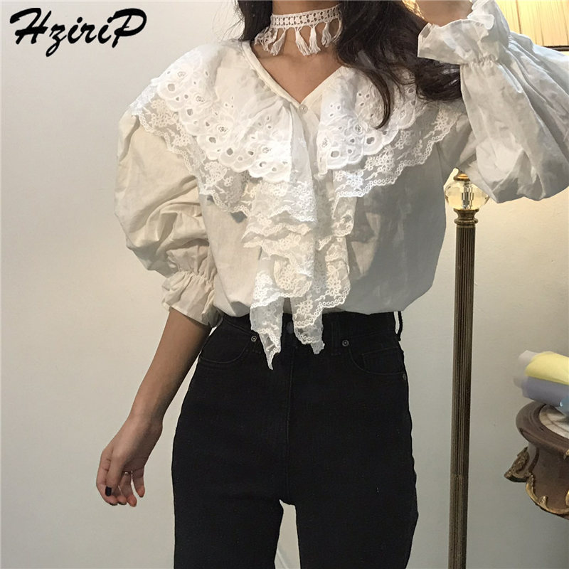 Hzirip 2019 Stylish Spring Solid All-Match Shirts Female Sweet Lantern Sleeves High Quality Casual Simple Casual Fresh Sweat