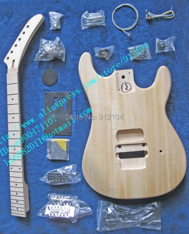 unfinished electric guitar with body and neck unpainted with rosewood fingerboard  with  hardware  F-5055-1 electric guitar gwarem st guitar zebrawood body and neck with gold hardwareguitar in china