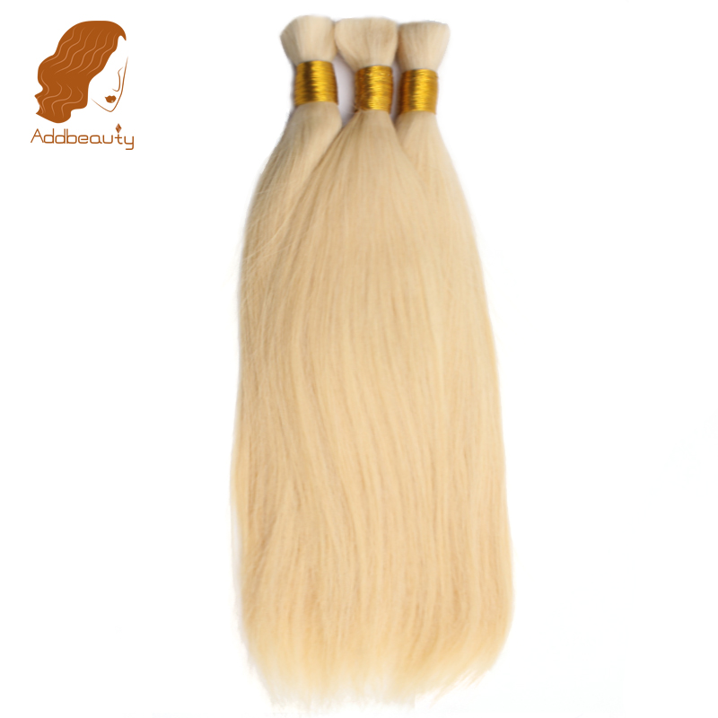 Addbeauty Human Braiding Hair Bulk Brazilian Straight Virgin Hair Extensions Blonde 613 Color 1 Bundle Bulk Hair Human Hair