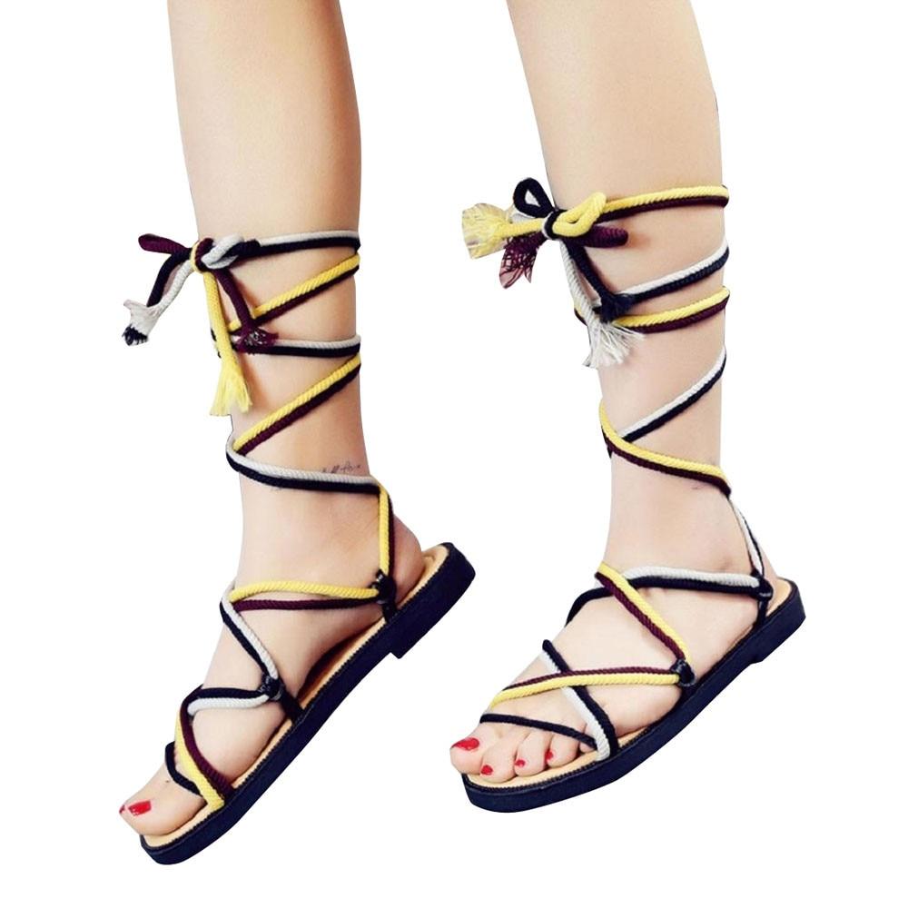 Women Sandals Strappy Open toe Knee High Summer Gladiator Flat Sandals Roman Cross-tied Bandage Casual shoes strappy toe post flat sandals