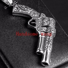Vintage Gun Design Biker 316L Stainless Steel Cool Men's Pendant Silver Necklace With Free 60cm Box Aberdeen Chain High Quality