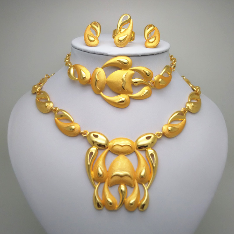Kingdom Ma Jewelry sets Gold Color Bridal Wedding Jewerly Necklace Earrings Bangle Ring Gifts