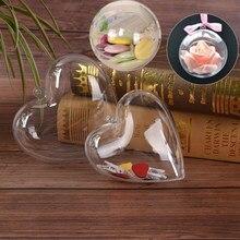 878906689cf 10 12 cm corazón transparente bola del árbol de Navidad ornamento presente  Bola de plástico claro para la caja del caramelo de l.