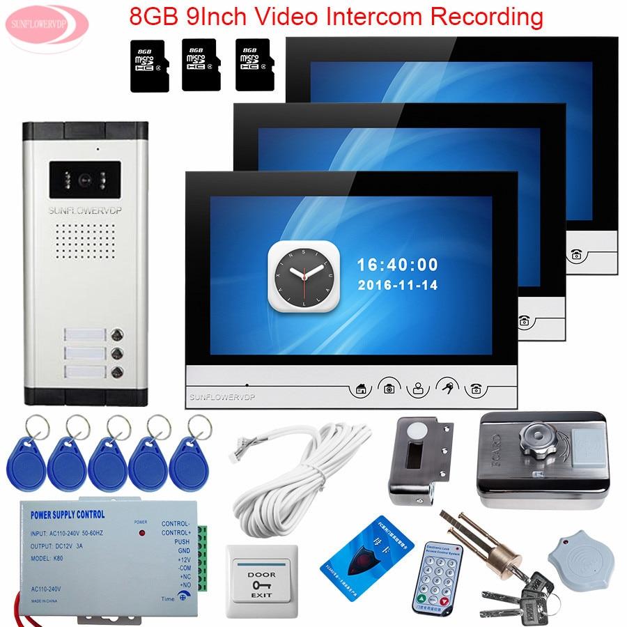 3 Units Video Door Phone Intercom System 9inch Video Intercom With Recording +8GB TF Card Keys For The Doorphone Rfid Door Lock the black keys the black keys el camino 2 lp