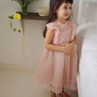 Children Clothes 2018 Summer Girl Dress Lace Small Flying Sleeve Princess Dress Cute Clothes Robe Fille