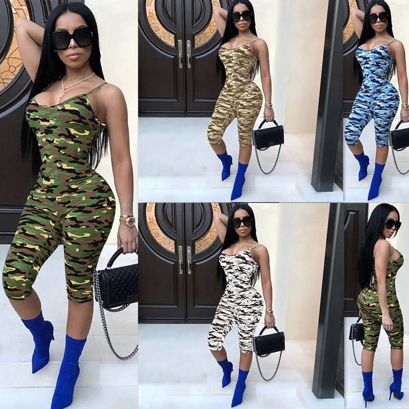Female Camouflage Sling Jumpsuit 2019 New Sexy Tight Body Piece Trousers Personality Camouflage Nightclub Clothing Hot Sale