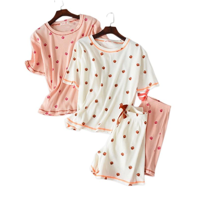 Sweet strawberry 100% knit cotton shorts   pajamas     sets   women short sleeve sleepwear pyjamas women pijama de nightwear summer