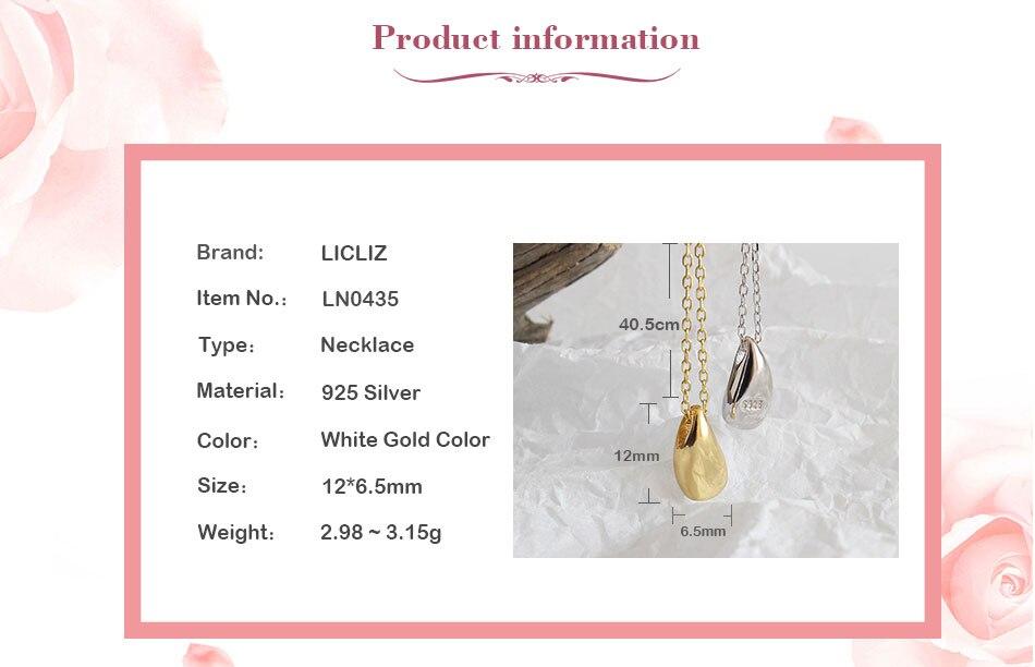 HTB1VL0eQ4TpK1RjSZFKq6y2wXXaz LicLiz 2019 New 925 Sterling Silver Water Drop Pendant Necklaces for Women 18K Gold White Gold Link Chains Jewelry Kolye LN0435