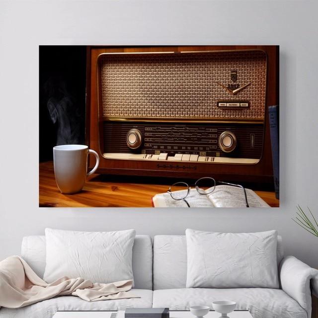 Vintage Oude Radio Canvaskunst Schilderij Poster Muur Foto Voor ...