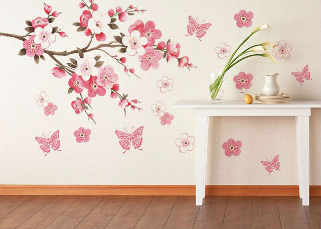 Pink Flowers Erfly Bathroom Decor Removable Large Wall Stickers Princess Love Room Decoration Art Poster
