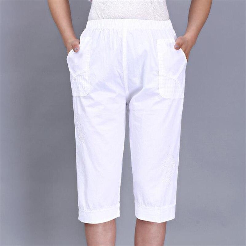 Woman Spring Plus Size 100% Cotton   Pants   Female Summer Oversized Thin Trousers Women Elastic Waist   Capris   Lady Knee Length   Pants