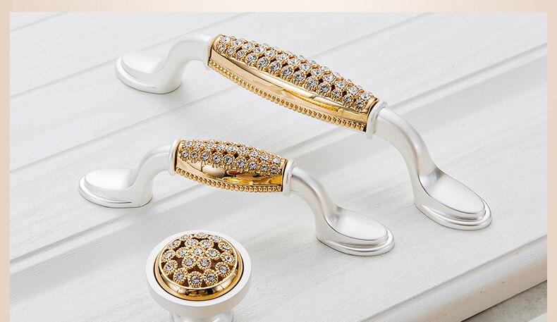 KAK хрустальные золотые дверные ручки с бриллиантами, роскошные цинковые ручки для ящика шкафа, европейские ручки для шкафа, мебельные ручки