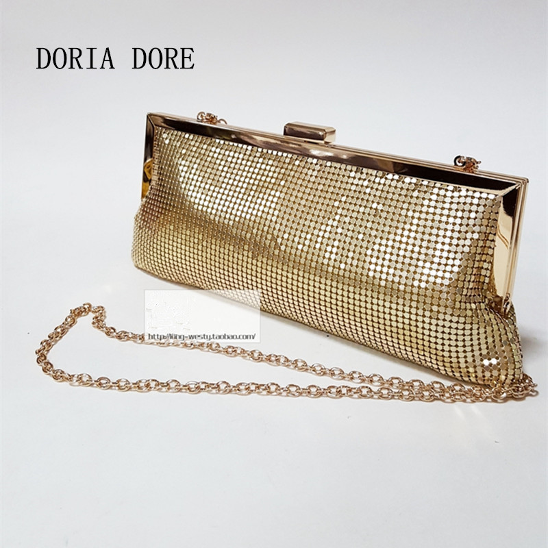 DORIA DORE Women Day Clutches 2017 Aluminum Mesh Envelope Flap Sequined Long Chain party BaoBao Handbags gold clutch Evening bag