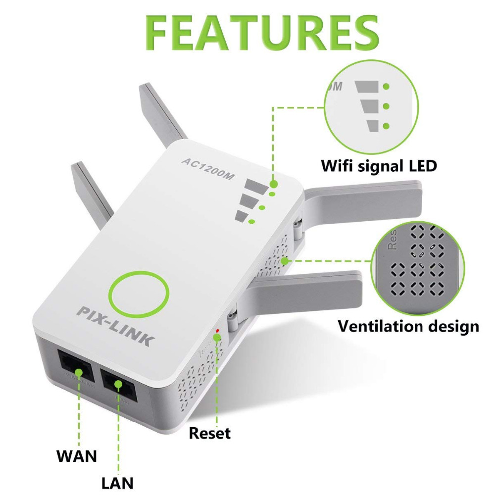 PIXLINK 1200Mbps 2 4GHz 5GHz Dual Band AP Wireless Wifi Repeater Range AC  Extender Repeater Router WPS With 4 External Antennas