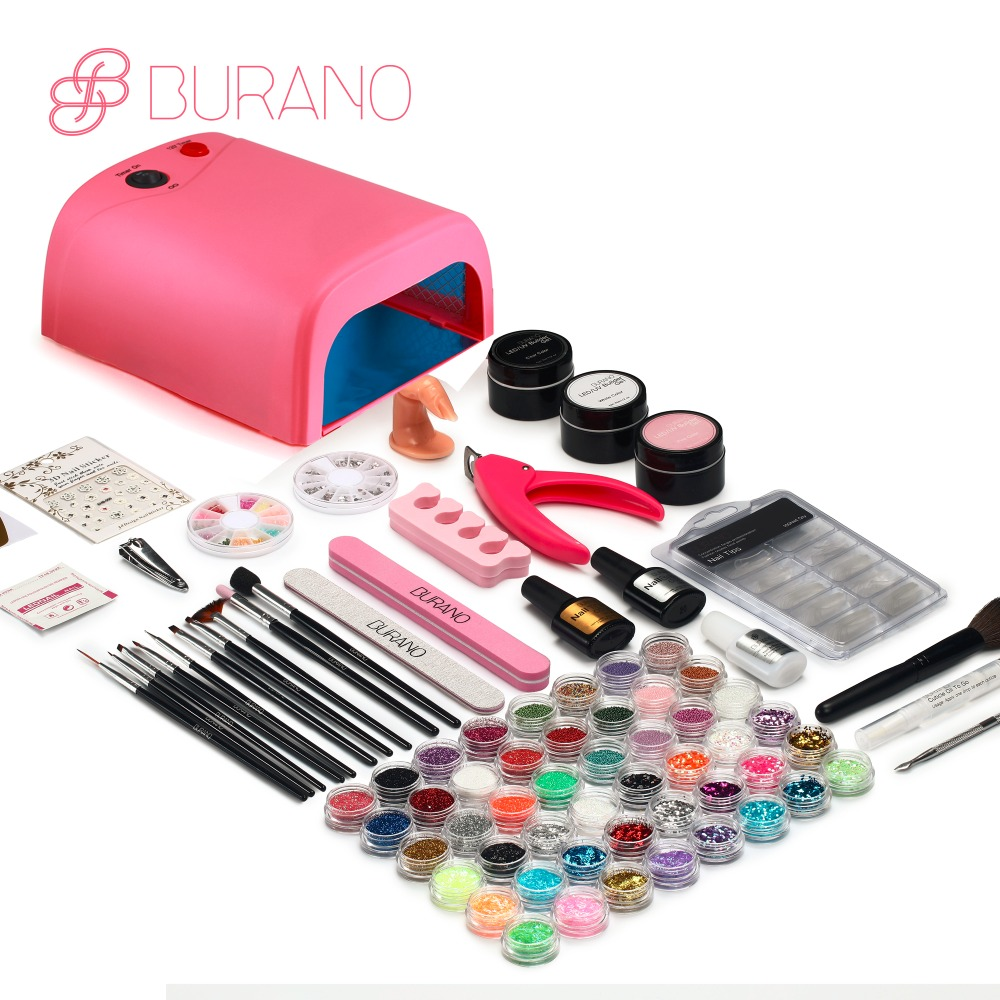 Burano uv led lamp manicure set Nail Art UV Gel Kits sets Tools Brush Tips Glue Acrylic Powder Set 004 2018 pro uv gel nail art tool kits sets uv lamp brush remover nail tips glue acrylic ms coco