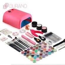 Burano uv led lamp manicure set Nail Art UV Gel Kits sets Tools Brush Tips Glue Acrylic Powder Set 004