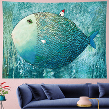 Cute fish cartoon wall hanging Children's room wall hanging kids room tapestry Wall Tapestry Hanging Home Decor cuteWall cloth turtle ocean fish wall tapestry