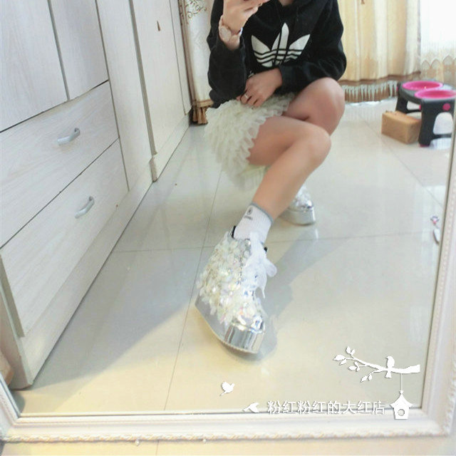 Botas Encaje Flores Hechos Mano 12cm Para Chicas Aumento Mujer Zapatos Heel Plata Señora A Interior Con Altura Tobillo Blanco Plataforma De rxSXqIr