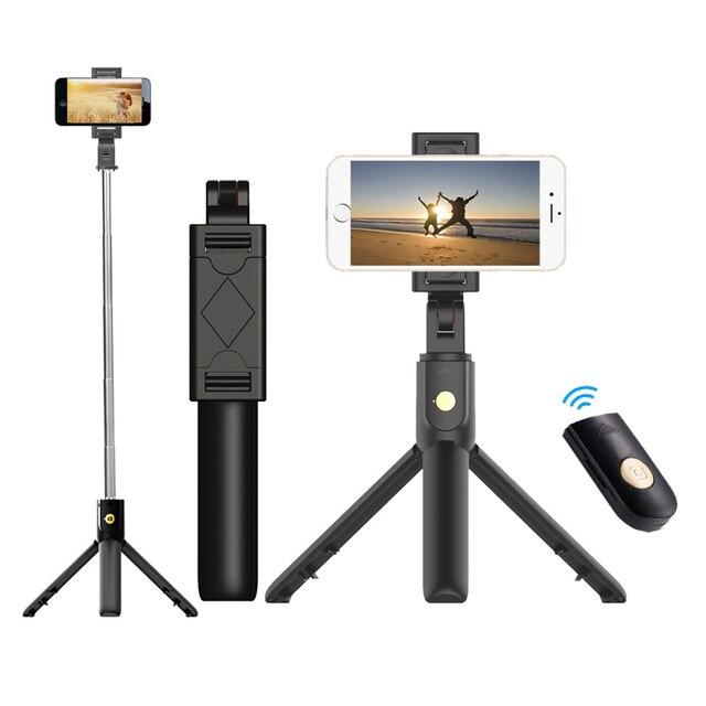 3 In 1 Draadloze Bluetooth Telefoon Hold Mini Selfie Statief Met Afstandsbediening Voor Iphone X 8 7 6 S plus Draagbare Monopod