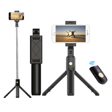 3 em 1 sem fio bluetooth telefone hold mini selfie tripé com controle remoto para o iphone x 8 7 6s plus portátil monopé
