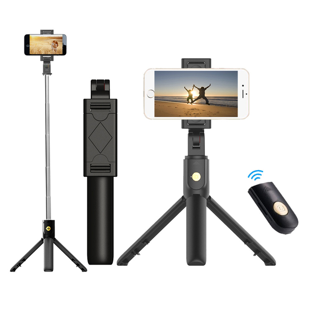 3 in 1 Wireless Bluetooth Phone Hold Mini Selfie Tripod with Remote Control For iPhone X 8 7 6s plus Portable Monopod