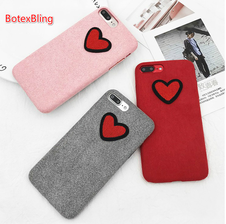 BotexBling Korean cute simple stripe love fluffy hats case for iphone X case 8 8Plus 7 7plus 6 6s plus Tree Reindeer plush cover