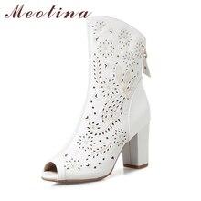 Meotina/Женская обувь из натуральной кожи Высокий каблук осень лето женские сапоги открытый носок ботинки до середины икры молнии вырез женская обувь белый