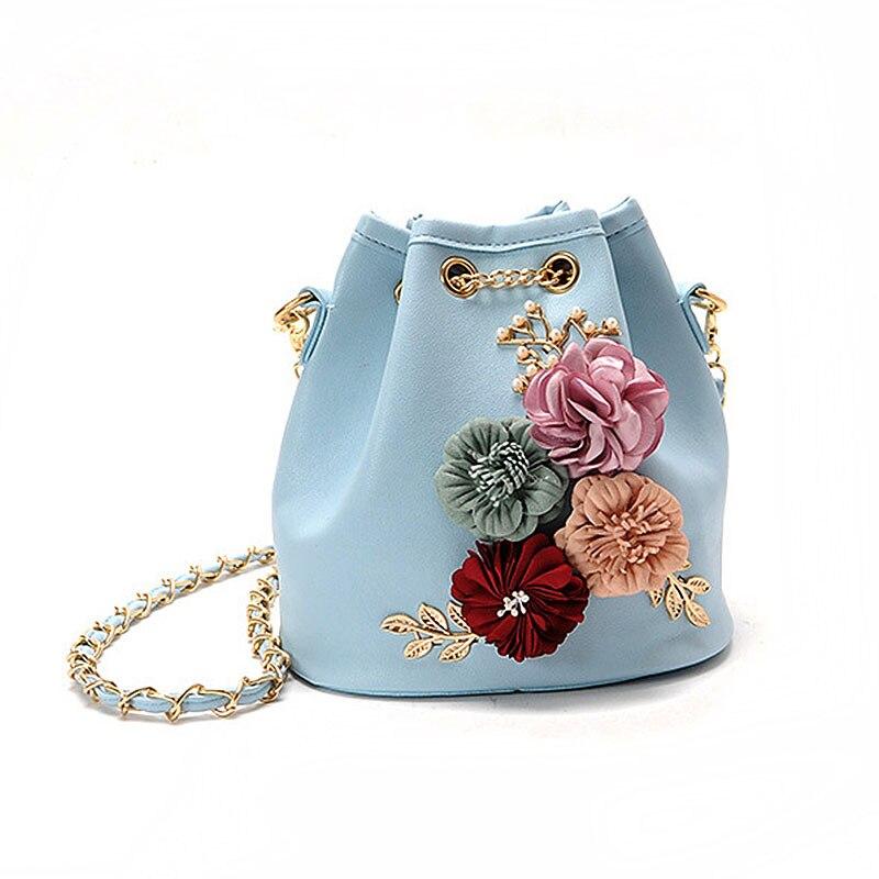 Wulekue Fashion Handbags Flowers Sweet Lady Drawstring Bucket Bag Shoulder Bag Embroidery Young Girl Bags Famous Design